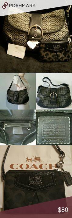COACH Shoulder Bag &Wallet Set BrandCoach  ColorBlack  MaterialLeather  StyleHobo  Bag Depth3  Bag Length13  SizeMedium  Bag Height8.5 Coach Bags Shoulder Bags