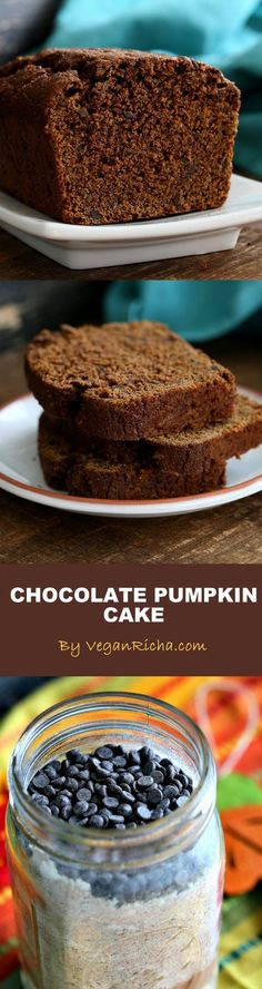 One Bowl Pumpkin Chocolate Bread or Cake. Vegan Chocolate Pumpkin Cake Mix is a perfect gift in a jar. Just add pumpkin & non dairy milk and bake. Spiced, Moist, delicious.   VeganRicha.com