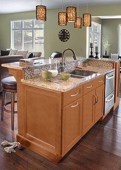 Merillat Cabinets   Maple With Granite Countertops... I Do NOT Like This  Backsplash