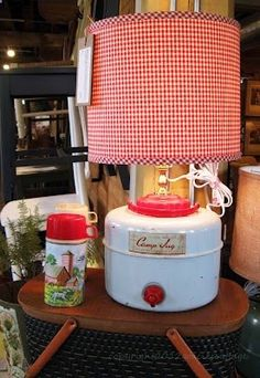 vintage camping jug lamp…great idea for my jug! It leaks like crazy so this will give it a new life!
