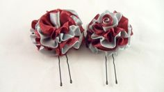 Hair Pins Wine Cranberry Burgandy and Silver Satin by DeonandDion, $7.00