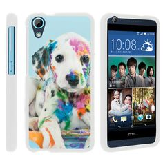 HTC Desire 626 Case SNAP SHELL Slim White Snap On Case Protector - Colorful Puppy