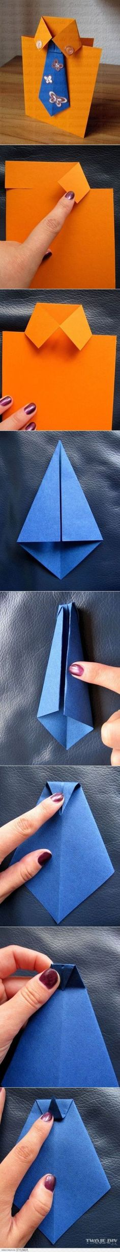 Fathers Day Card Idea: How to make a shirt and tie greeting card cool shirt diy tie diy crafts do it yourself diy projects greeting card Easy Diy Crafts, Crafts For Kids, Arts And Crafts, Paper Crafts, Card Crafts, Craft Kids, Diy Paper, Diy Father's Day Cards, Diy Cards For Dad