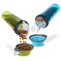Dexas's Snack-Duo system with collapsible 8 oz. cup ($19.99), conveniently holds both dry food and water — with a water-tight cap top on liquid side and wide-mouth snap lid on the snack side — so your pup can easily fuel up on-the-go!