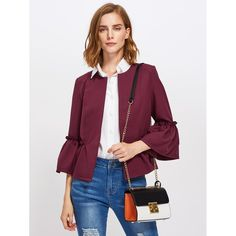 b8df4ed2fa Frilled Bell Sleeve And Hem Open Front Blazer