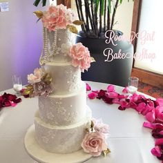 I couldn't stop staring at today's #weddingcake! #laceapplique and #caklace and #sugarflowers galore! Congratulations Christine and Chris! I hope you have a wonderful wedding snd best wishes! Thank you for letting me be a part of it. #orangecountywedding #missionviejocountryclub #ocwedding  #bespokecake #lacecake #sugarart #cakeart #rooneygirlbakeshop