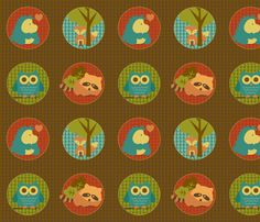 Cuddly Woodland Circles fabric by saraink on Spoonflower - custom fabric