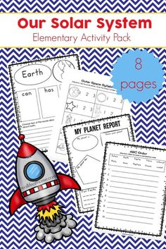 The free solar system printables elementary learning packet features eight pages of space and solar system themed activities. These solar system worksheets focus on language arts and writing activities, including a free mini planet report worksheet. Solar System Worksheets, Solar System Activities, Solar System For Kids, Space Activities, Science Activities, Writing Activities, Science Lessons, Science Resources, Reading Resources