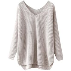 Blackfive Split Hem V-neck Md-long Loose Jumper (41 AUD) ❤ liked on Polyvore featuring tops, sweaters, shirts, blackfive, loose shirts, vneck sweater, v neck shirts, v neck sweater and white v neck shirt