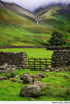 Ireland, stone wall, hills