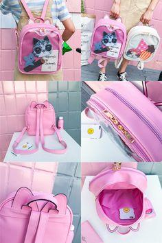 Cream White Transparent Heart Bag Harajuku Purse Backpack Traveler Bag ITA Bag