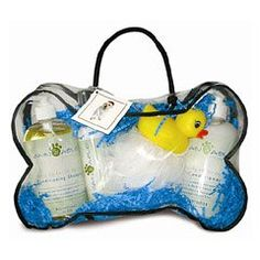 $32.00-$32.00 Cain & Able Collection Deluxe Spa Set for Dogs, Peppermint - The Deluxe Spa Set includes Shampoo, Conditioner, Between Baths Spritz, and dog bath accessories (a bath sponge and rubber duck!). All products are All Natural and formulated for natural flea control. It is packaged in a vinyl bone-shaped bag, and makes a great dog occasion gift for doggie friends or friends with doggies { ...