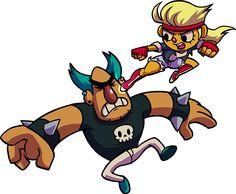 Illustration - Brooke jump kicking Tuco