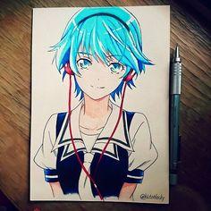 Akatsuki Fuuka   Love the opening song ! #anime#manga#fuuka#art#draw#akitsukifuuka#hedgehog#sketch#pensil#mangart
