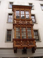Gallen, Switzerland - photo by H. Bern, Basel, Zurich, Flower Boxes, Genealogy, Switzerland, Places Ive Been, Clock, Windows
