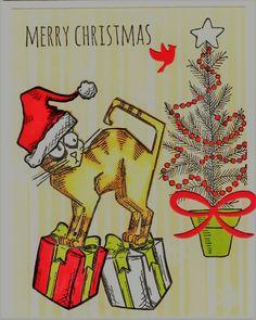 Tim Holtz Crazy Cat Christmas - card by M.Garvey