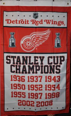 6cc102f9661 Detroit Red Wings Commemorative Stanley Cup Banner Flag 3x5 Man Cave NHL