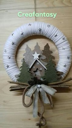Custom Christmas Ornaments, Handmade Christmas Decorations, Christmas Bows, Xmas, Christmas Craft Projects, Holiday Crafts, Wreath Crafts, Holiday Wreaths, Crafty