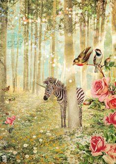 Wenskaart Zebra. Deze luxe wenskaarten zijn mooi aan zowel de buiten- als binnenzijde! Heel geschikt als je écht iets bijzonders wilt versturen! Wenskaart met sprookjesachtige afbeelding van zebra in het bos. Formaat: 10,5 x 14,8 cm met mooie mintgroene envelop.