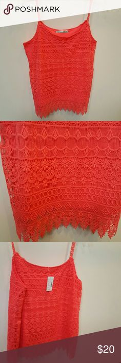 NWT Maurices Bright Coral Lace Tank Top S New with tags. Beautiful bright coral lace. No trades please. Maurices Tops Tank Tops