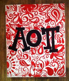 AOII canvas - do with phi mu and pink carnation lilly back
