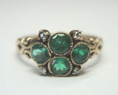 Antique Victorian Colombian Emerald Engagement Ring Vintage Estate Solitaire 9KT