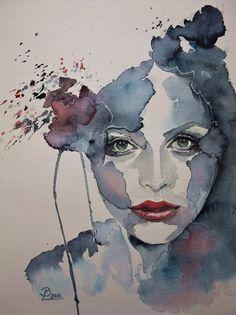 Blue - woman - portrait - watercolor - Birgit Lehmann