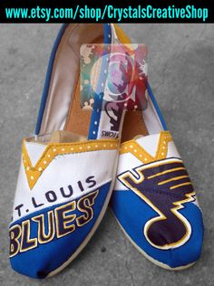 St Louis Blue Notes Custom Shoes by CrystalsCreativeShop on Etsy