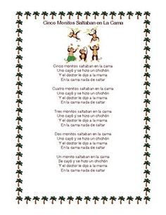 Cinco Monitos Saltaban en L... by Seaside Spanish   Teachers Pay Teachers Spanish Teacher, Teaching Spanish, Five Little Monkeys Song, Kids Singing, Teaching Numbers, Song Sheet, Spanish Lessons, Seaside, Preschool