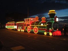 Train Tram at Blackpool Illuminations, UK.