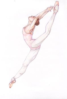 A study of ABT (American Baller Theatre) dancer, Brittany De Grofft, from a Capezio ad. Inked in a violet Sakura Micron pen and colored with Prismacolor Premier colored pencils, and drawn on Bee sk...