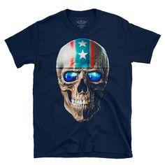 skull americana. Bad To The Bone, Good Old, Rock N Roll, Skull, Mens Tops, Skulls, Sugar Skull