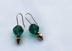 Emerald Green Silver Spike Crystal Earrings by StripesSequins, $30.00