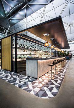 The Qantas Hong Kong airport lounge designed by Caon Studio