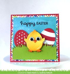 Layer the pieces from this set to make a cute baby chick, Easter eggs, or a a chick hatching out of an egg. This chick and eggs are fun to add to cards, treat b