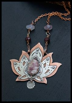 Lotus Flower Necklace: Sterling silver Om by AnniamAeDesigns