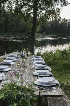 Outdoor Wedding Tables, Wedding Table Settings, Outdoor Dining, Outdoor Decor, Dining Table, A Table, Lakeside Dining, Lakeside Cottage, Time Stood Still