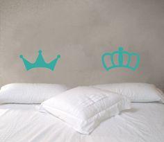Decoración de pared - Corona rey y reina sticker 078DB - hecho a mano por lagoa-small-spaces en DaWanda
