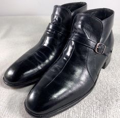 fc4cb0ea7b0 SEARS EASY FLEX MEN Sz 8 D BLACK GENUINE LEATHER SOLE BUCKLE BOOTS MADE IN  USA