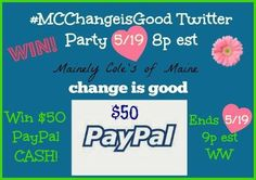 paypal cash giveaway sponsored by Mainely Coles - open worldwide