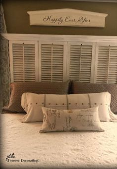 Old Shutters Are Repurposed Into Beautiful Planter Boxes - They Were Just Ugly O. Old Shutters Are Repurposed Into Beautiful Planter Boxes - They Were Just Ugly O. Old Shutters Are Repurposed Into Shutter Headboards, Diy Shutters, Repurposed Shutters, Bedroom Shutters, Decorating With Shutters, Farmhouse Shutters, Exterior Shutters, Bedroom Furniture, Bedroom Decor