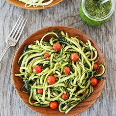 """Turn zucchini into noodles for a fun summer meal. Learn how to cook """"Zoodles"""" for a healthy pasta alternative, and use all that summer zucchini. Add fresh Pesto to zucchini pasta noodles for a simple, and healthy dish the entire family will love! Healthy Zucchini, Healthy Pastas, Healthy Dishes, Zucchini Noodles With Pesto Recipe, Zucchini Pasta, Zucchini Pancakes, Zucchini Chips, Pasta Recipes, Keto Recipes"""