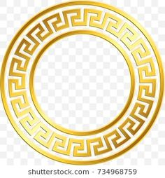 Round frame with traditional vintage Golden Greek ornament, Meander pattern on transparent background. Gold pattern for decorative tiles Badge Design, Logo Design, Aztec Tattoos Sleeve, Greek Mythology Tattoos, Photoshop Shapes, Paint Icon, Ancient Greek Art, Logo Samples, Luxury Business Cards