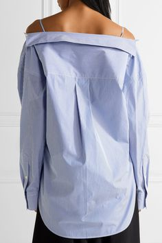 Theory - Tamalee Off-the-shoulder Striped Cotton-poplin Shirt - Blue - x small