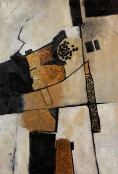 Mixed media contemporary abstract, Deliberation , Carol Nelson Fine Art, painting by artist Carol Nelson