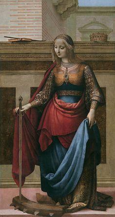 4º Renacimiento. Fernando Yáñez de la Al medina 1489-1536.  Santa Catalina de Alejandría Tabla, 212 x 112 cm. En el renacimiento se humaniza el rostro humano, con colores armoniosos, la luz es diáfana y clara.