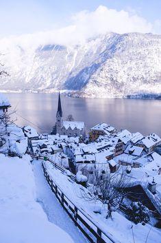 Hallstatt in winter (Austria) by Adam Fejes / Austria Winter, Narnia, Winter Christmas, Winter Wonderland, Germany, Activities, Mountains, Nature, Outdoor