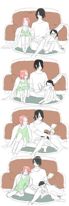 Uchiha Sakura, Uchiha Sasuke and Uchiha Sarada.