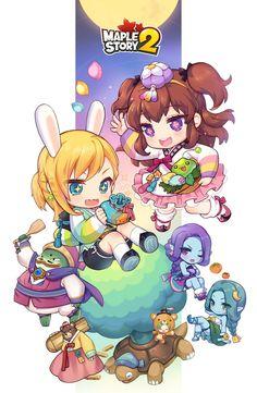 New illustration from MapleStory 2 Game Character Design, Character Design Inspiration, Character Concept, Character Art, Kawaii Chibi, Anime Chibi, Kawaii Anime, Chibi Characters, Cute Characters