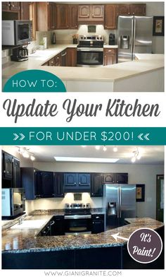 Kitchen Makeover on a Budget! Countertop Paint that looks like natural stone and a one-day cabinet makeover! #DIY #homedecor #diyhome www.gianigranite.com www.nuvocabinetpaint.com